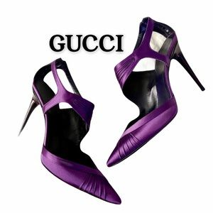 GUCCI Purple Satin Ankle Strap Heels